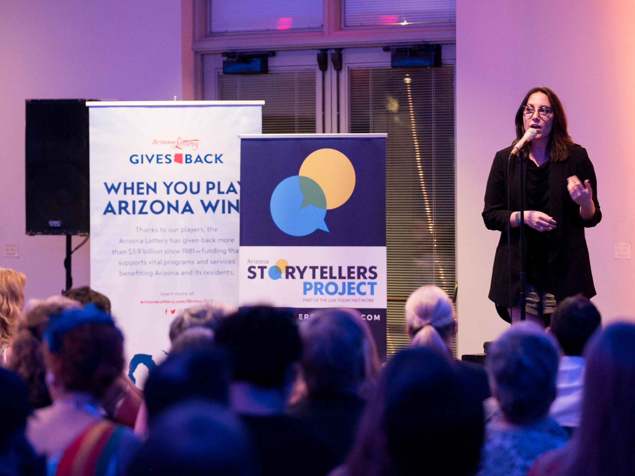 Megan Finnerty tells her story during Arizona Storytellers Project presents Searching at the Desert Botanical Garden in Phoenix on Thursday, Sep. 13, 2018.
