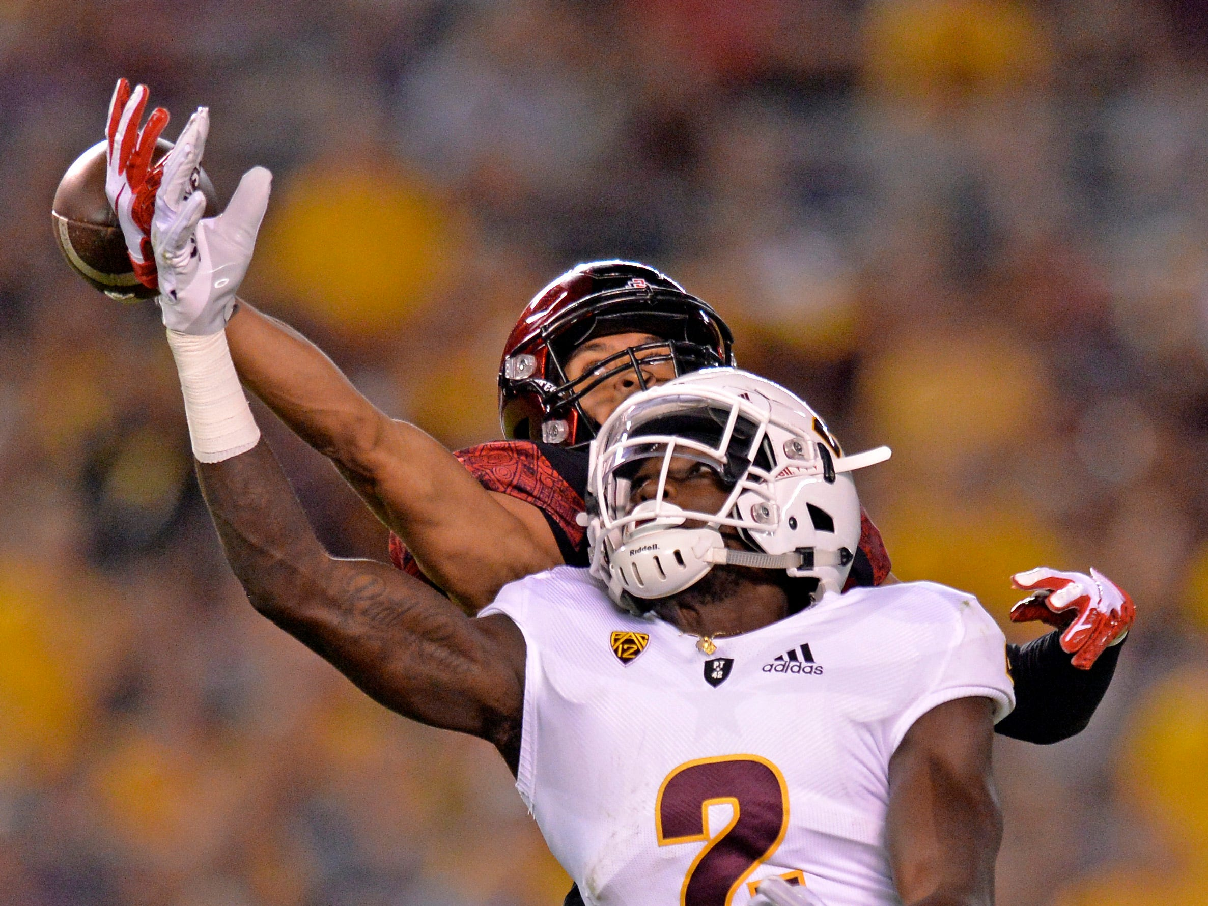 Sep 15, 2018; San Diego, CA, USA; Arizona State Sun Devils wide receiver Brandon Aiyuk (2) is defended on a pass by San Diego State Aztecs cornerback Ron Smith (17) during the first quarter at SDCCU Stadium. Mandatory Credit: Jake Roth-USA TODAY Sports