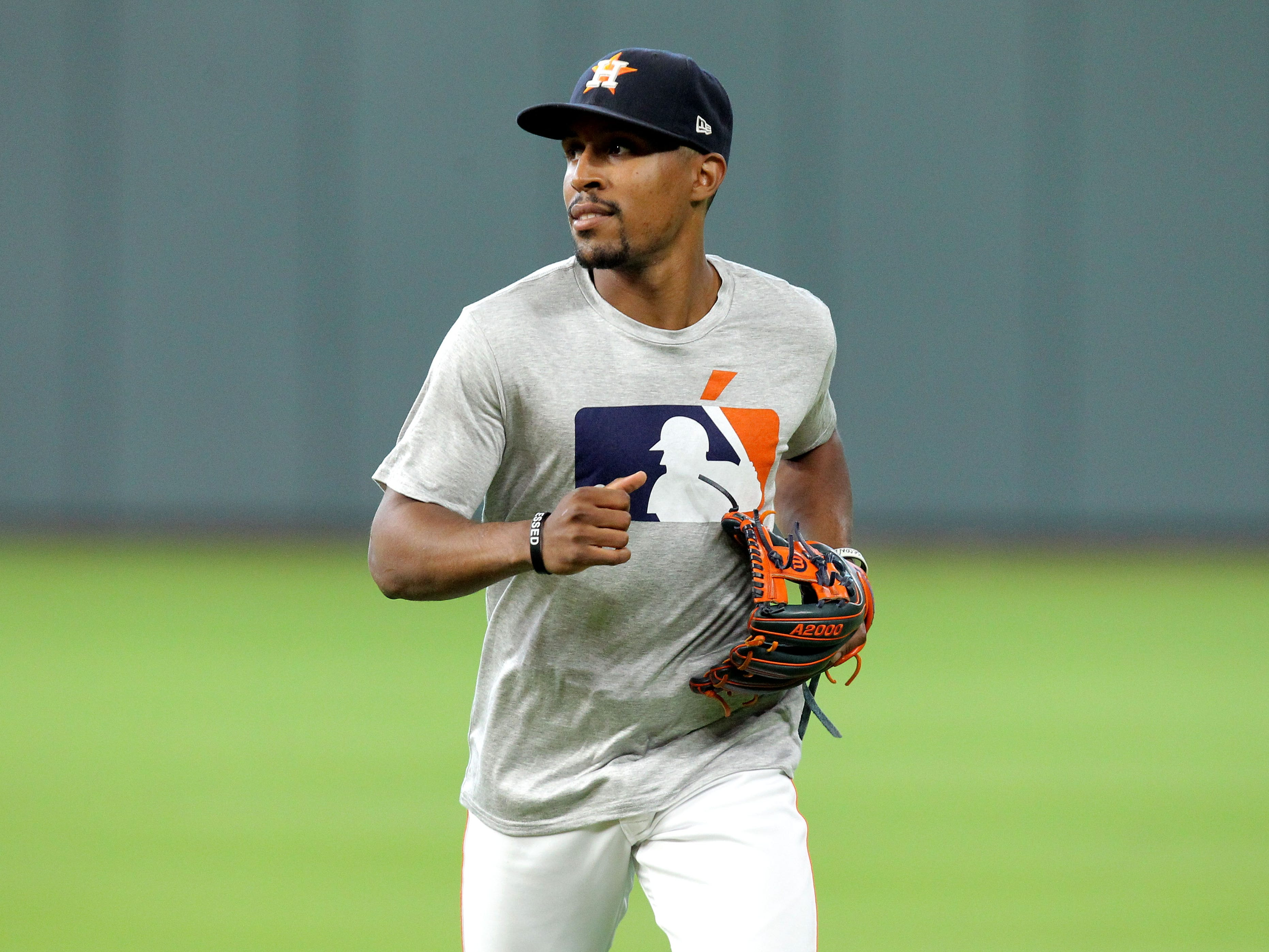 Sep 15, 2018; Houston, TX, USA; Houston Astros second baseman Tony Kemp (18) prior to the game against the Arizona Diamondbacks at Minute Maid Park. Mandatory Credit: Erik Williams-USA TODAY Sports