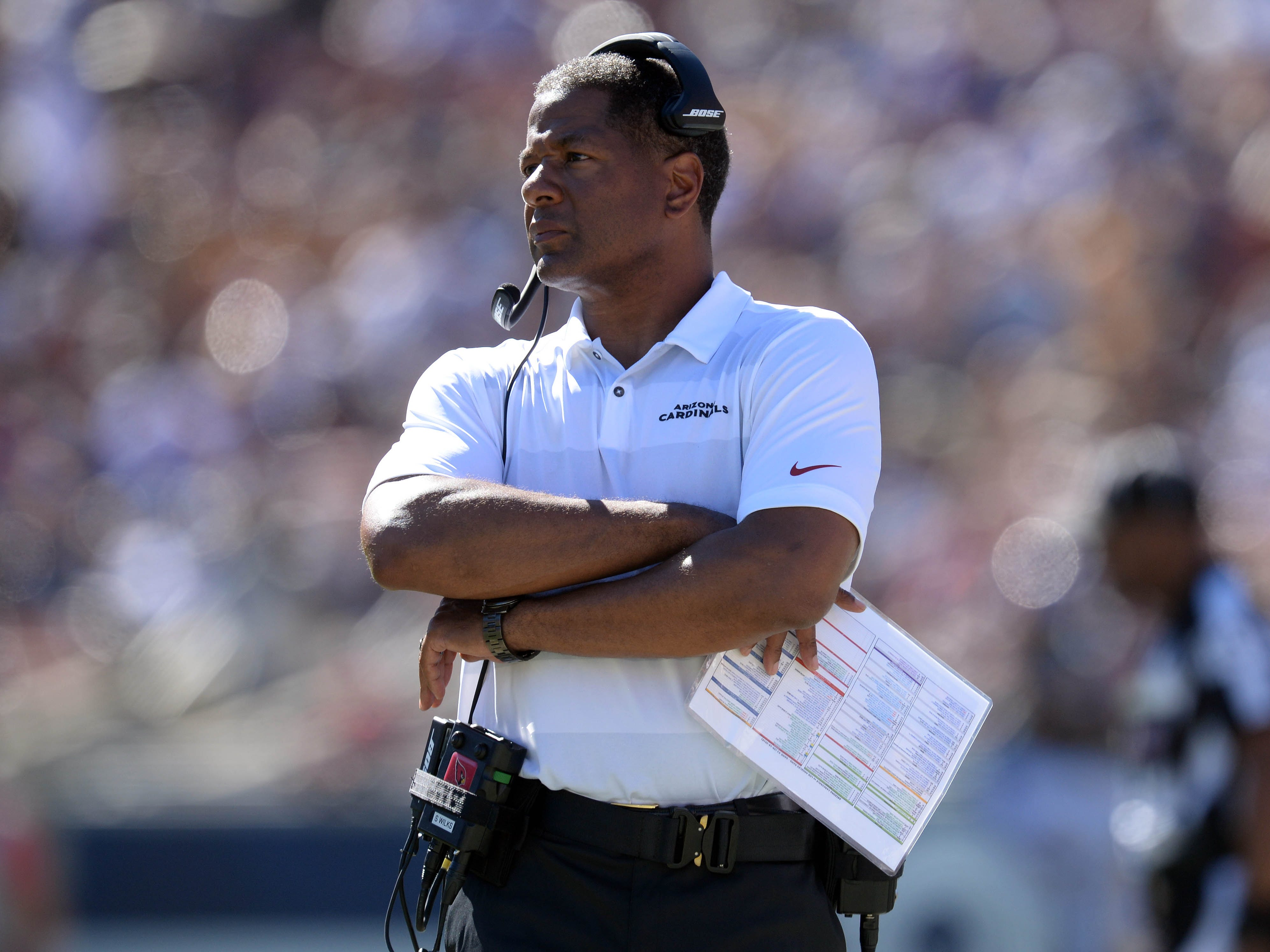 September 16, 2018; Los Angeles, CA, USA; Arizona Cardinals head coach Steve Wilks watches game action against the Los Angeles Rams during the second half at the Los Angeles Memorial Coliseum. Mandatory Credit: Gary A. Vasquez-USA TODAY Sports