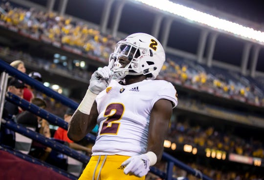 Junior wide receiver Brandon Aiyuk (2) of the Arizona State Sun Devils motions after scoring a touchdown against the San Diego State Aztecs at SDCCU Stadium on Saturday, September 15, 2018 in San Diego, California.