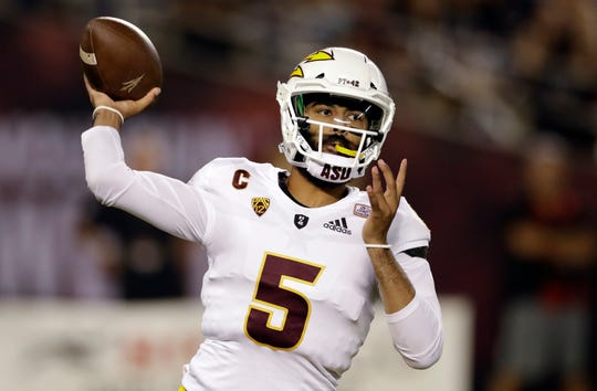 ASU quarterback Manny Wilkins throws a pass against San Diego State.