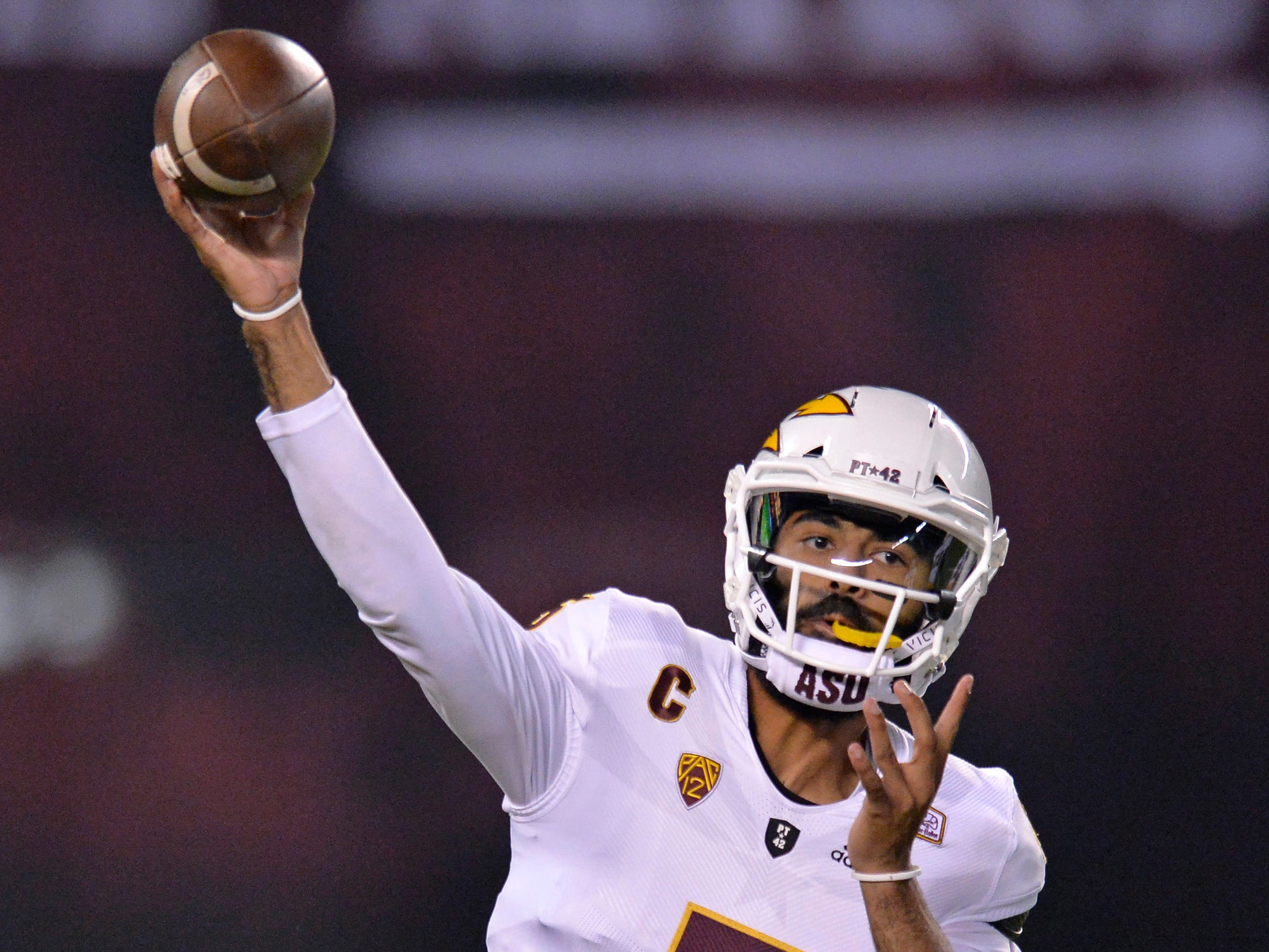Sep 15, 2018; San Diego, CA, USA; Arizona State Sun Devils quarterback Manny Wilkins (5) passes during the first quarter against the San Diego State Aztecs at SDCCU Stadium. Mandatory Credit: Jake Roth-USA TODAY Sports