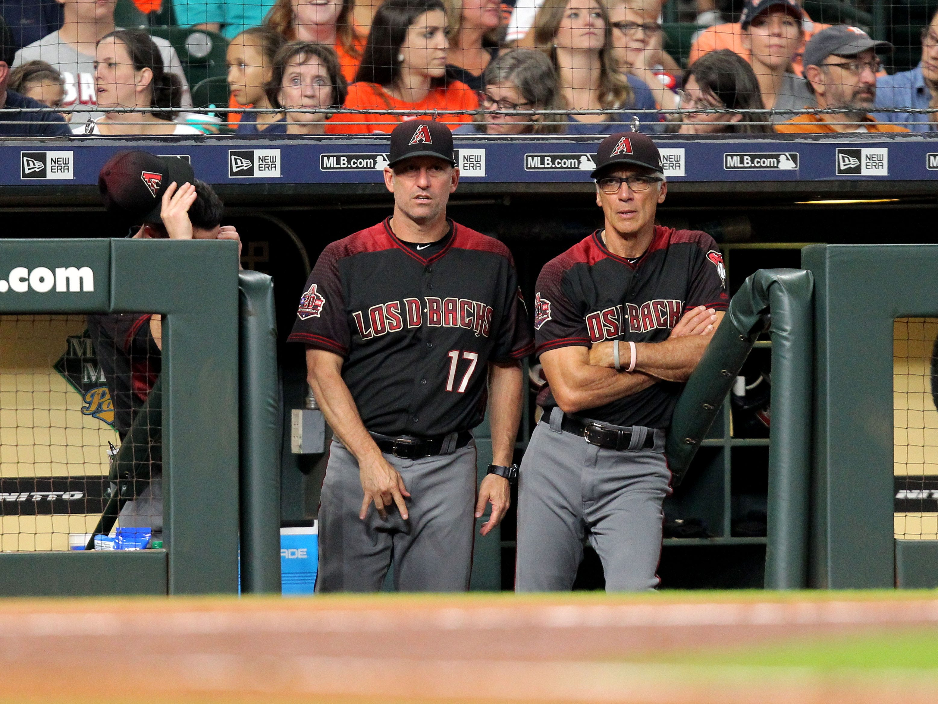 Sep 15, 2018; Houston, TX, USA; Arizona Diamondbacks manager Torey Lovullo (17, left) signals to Arizona Diamondbacks starting pitcher Zack Godley (52, not shown) during the third inning against the Houston Astros at Minute Maid Park. Mandatory Credit: Erik Williams-USA TODAY Sports