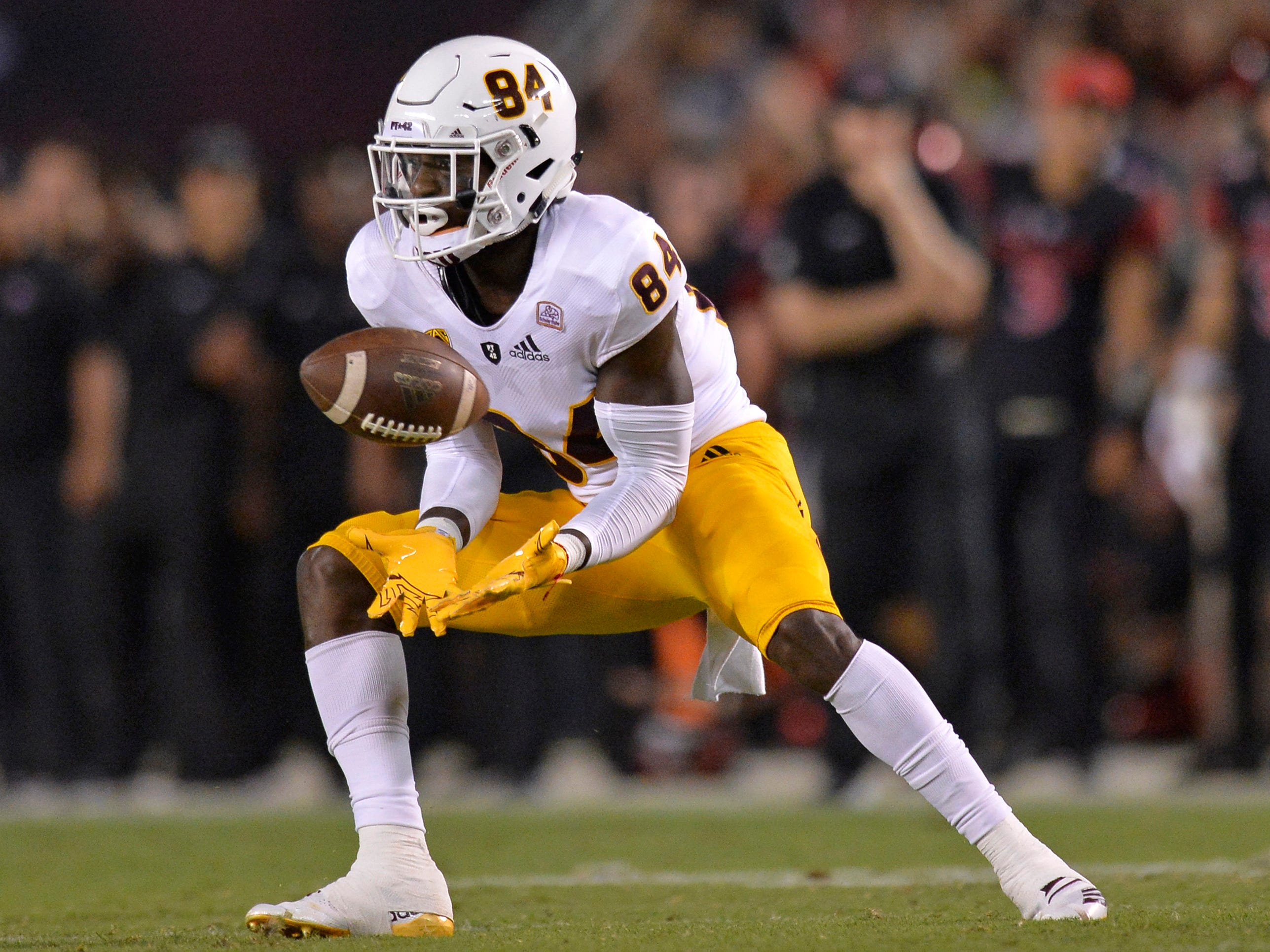 Sep 15, 2018; San Diego, CA, USA; Arizona State Sun Devils wide receiver Frank Darby (84) makes a second quarter catch against the San Diego State Aztecs at SDCCU Stadium. Mandatory Credit: Jake Roth-USA TODAY Sports