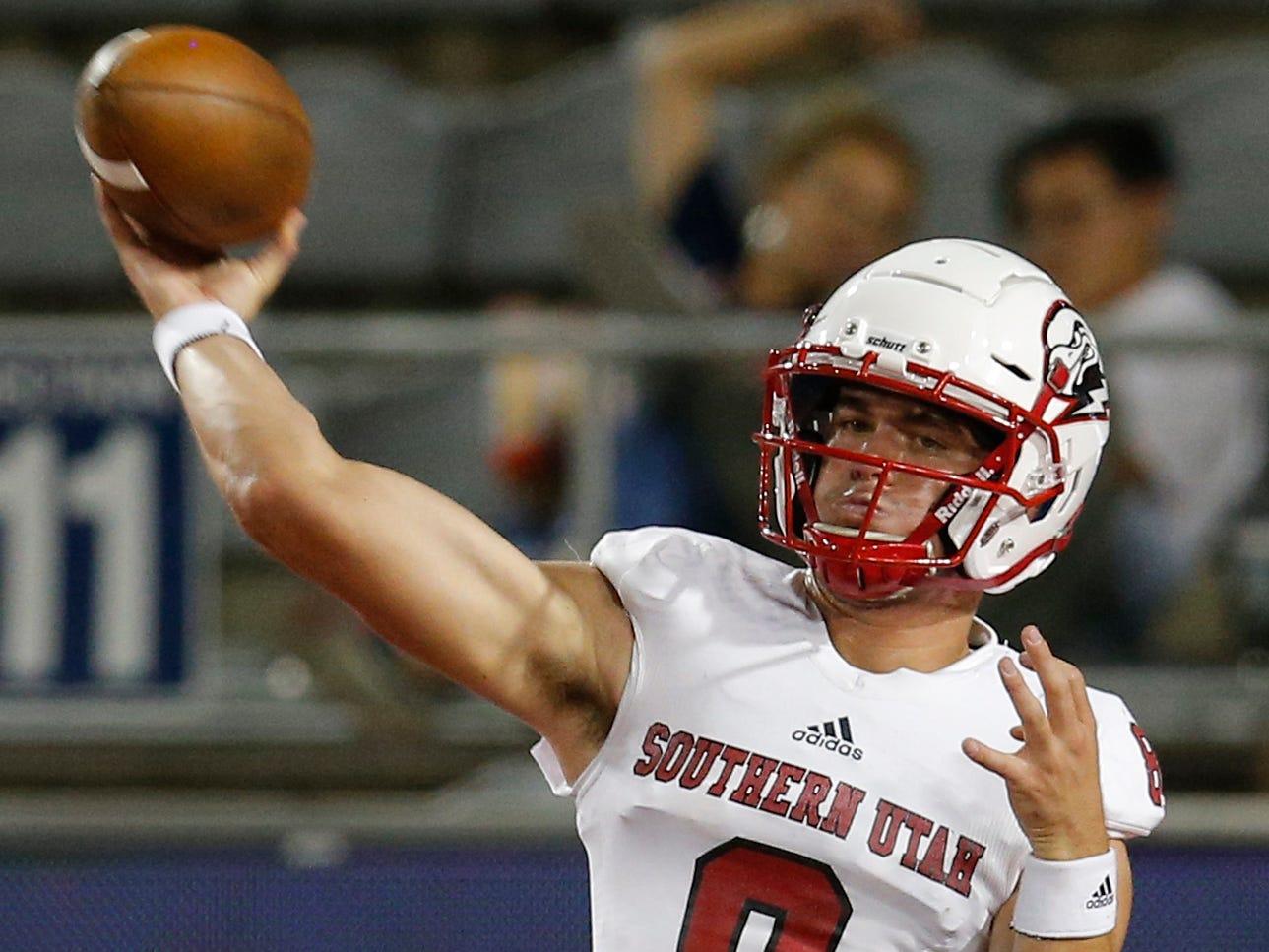 Southern Utah quarterback Chris Helbig warms up before an NCAA college football game against Arizona, Saturday, Sept. 15, 2018, in Tucson, Ariz. (AP Photo/Rick Scuteri)