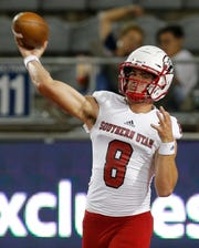 Southern Utah quarterback Chris Helbig warms up before an NCAA college football game against Arizona, Saturday, Sept. 15, 2018, in Tucson, Ariz. (AP Photo/Rick Scuteri)