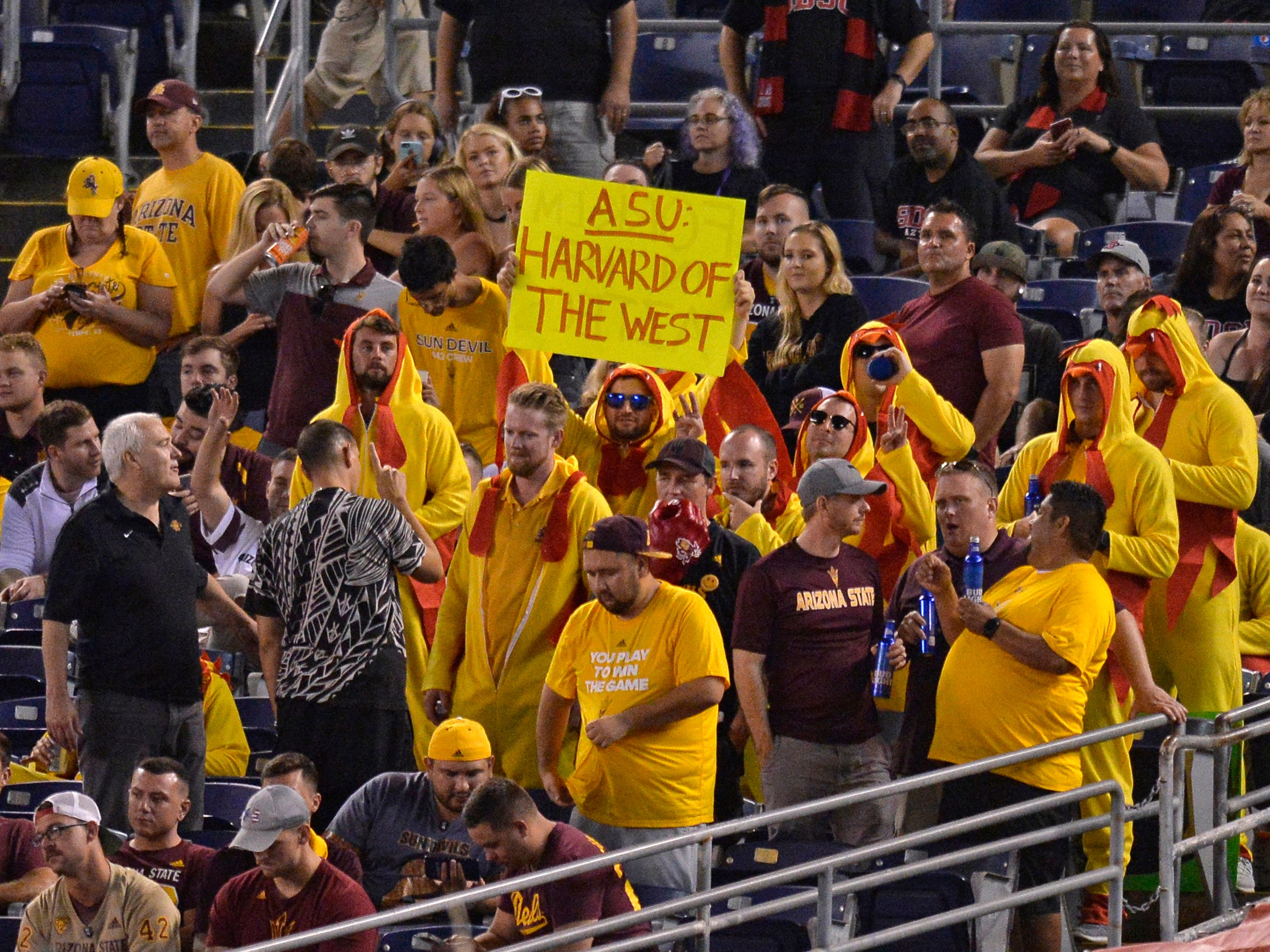 Sep 15, 2018; San Diego, CA, USA; Arizona State Sun Devils fans hold up a sign during the second quarter against the San Diego State Aztecs at SDCCU Stadium. Mandatory Credit: Jake Roth-USA TODAY Sports