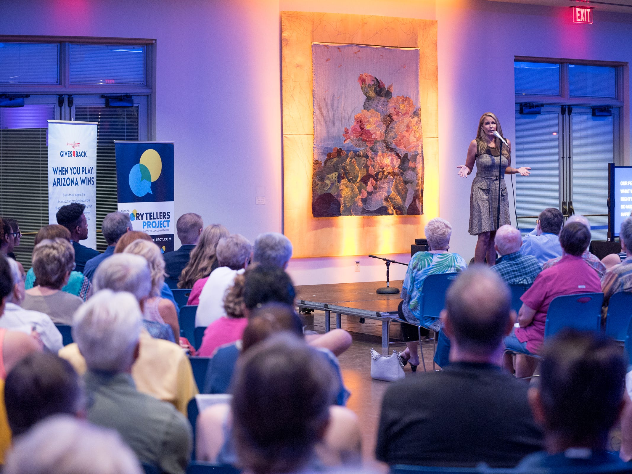 Amy Carney tells her story during Arizona Storytellers Project presents Searching at the Desert Botanical Garden in Phoenix on Thursday, Sep. 13, 2018.