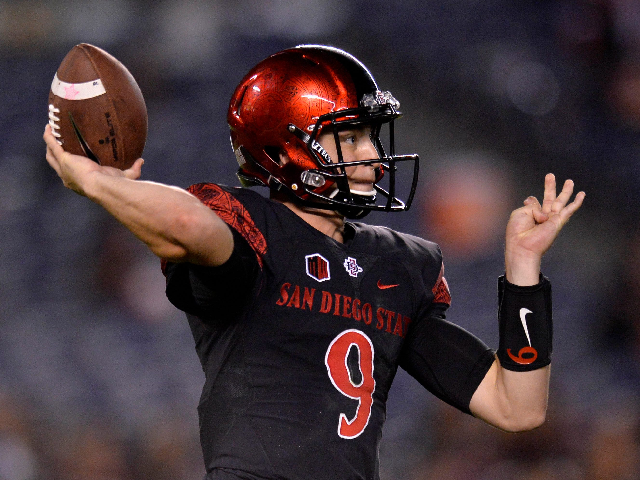 Sep 15, 2018; San Diego, CA, USA; San Diego State Aztecs quarterback Ryan Agnew (9) passes during the third quarter against the Arizona State Sun Devils at SDCCU Stadium. Mandatory Credit: Jake Roth-USA TODAY Sports