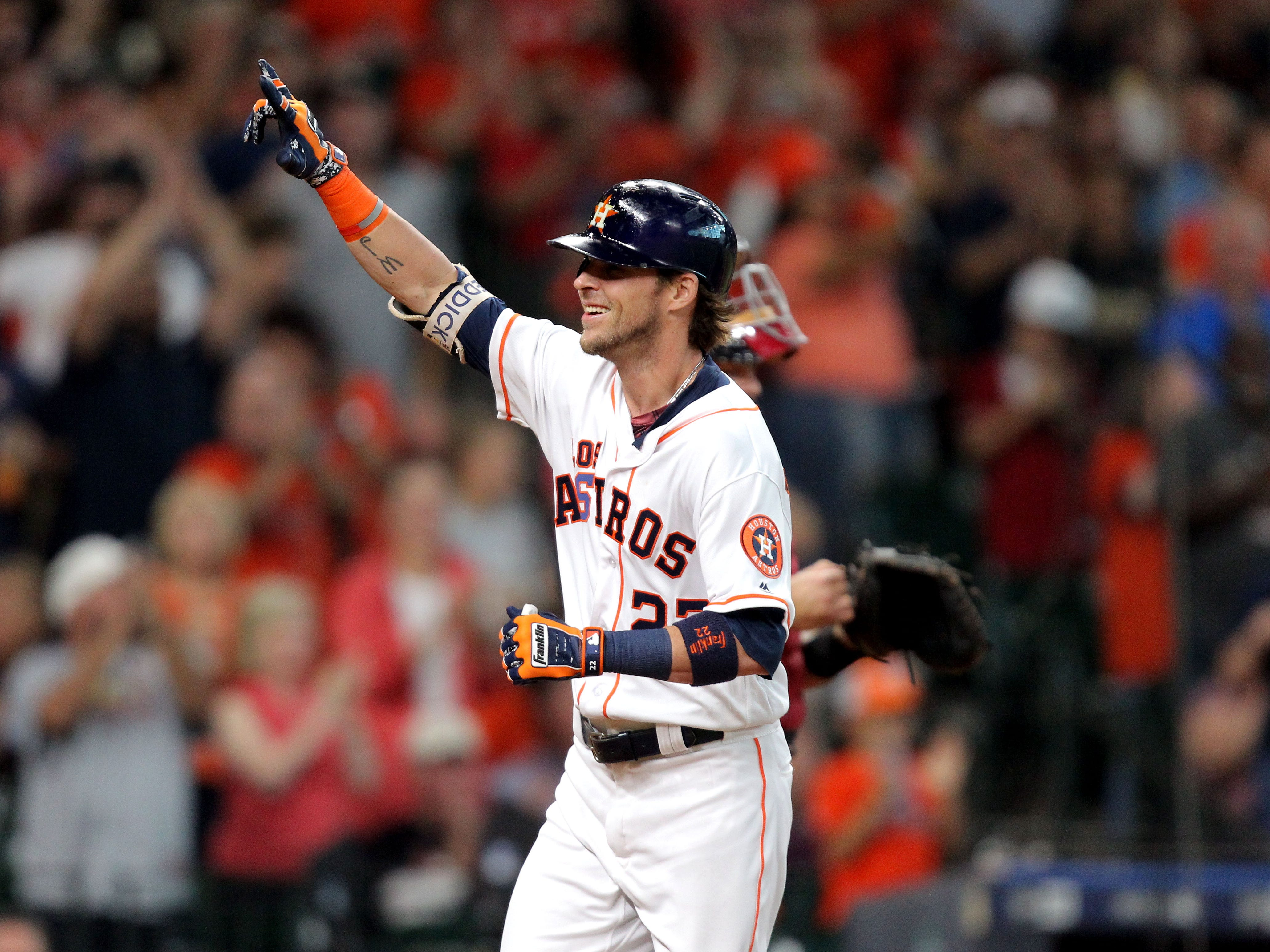 Sep 15, 2018; Houston, TX, USA; Houston Astros right fielder Josh Reddick (22) celebrates after hitting a home run to right field against the Arizona Diamondbacks during the third inning at Minute Maid Park. Mandatory Credit: Erik Williams-USA TODAY Sports