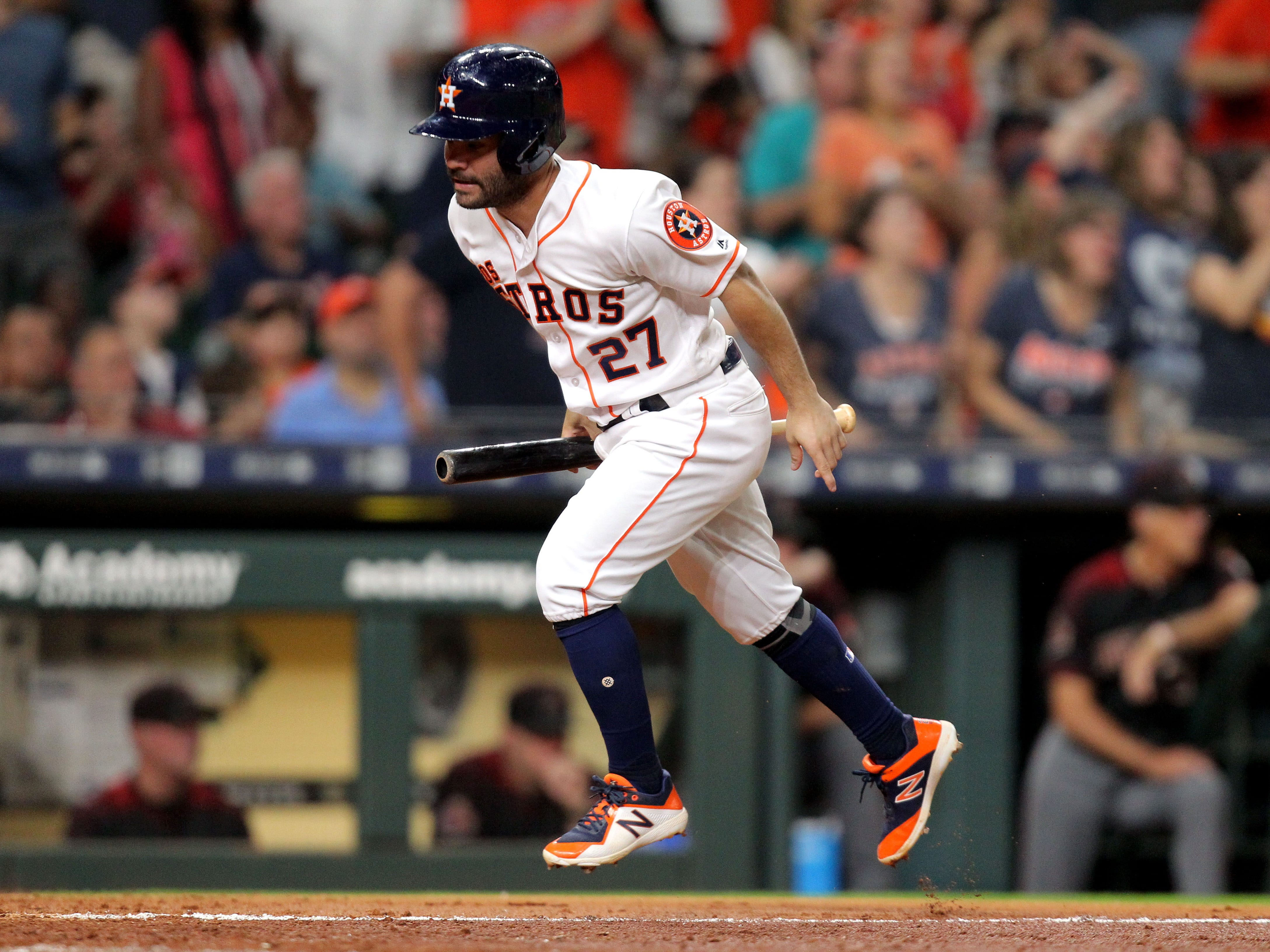 Sep 15, 2018; Houston, TX, USA; Houston Astros second baseman Jose Altuve (27) runs home to score a run against the Arizona Diamondbacks during the sixth inning at Minute Maid Park. Mandatory Credit: Erik Williams-USA TODAY Sports