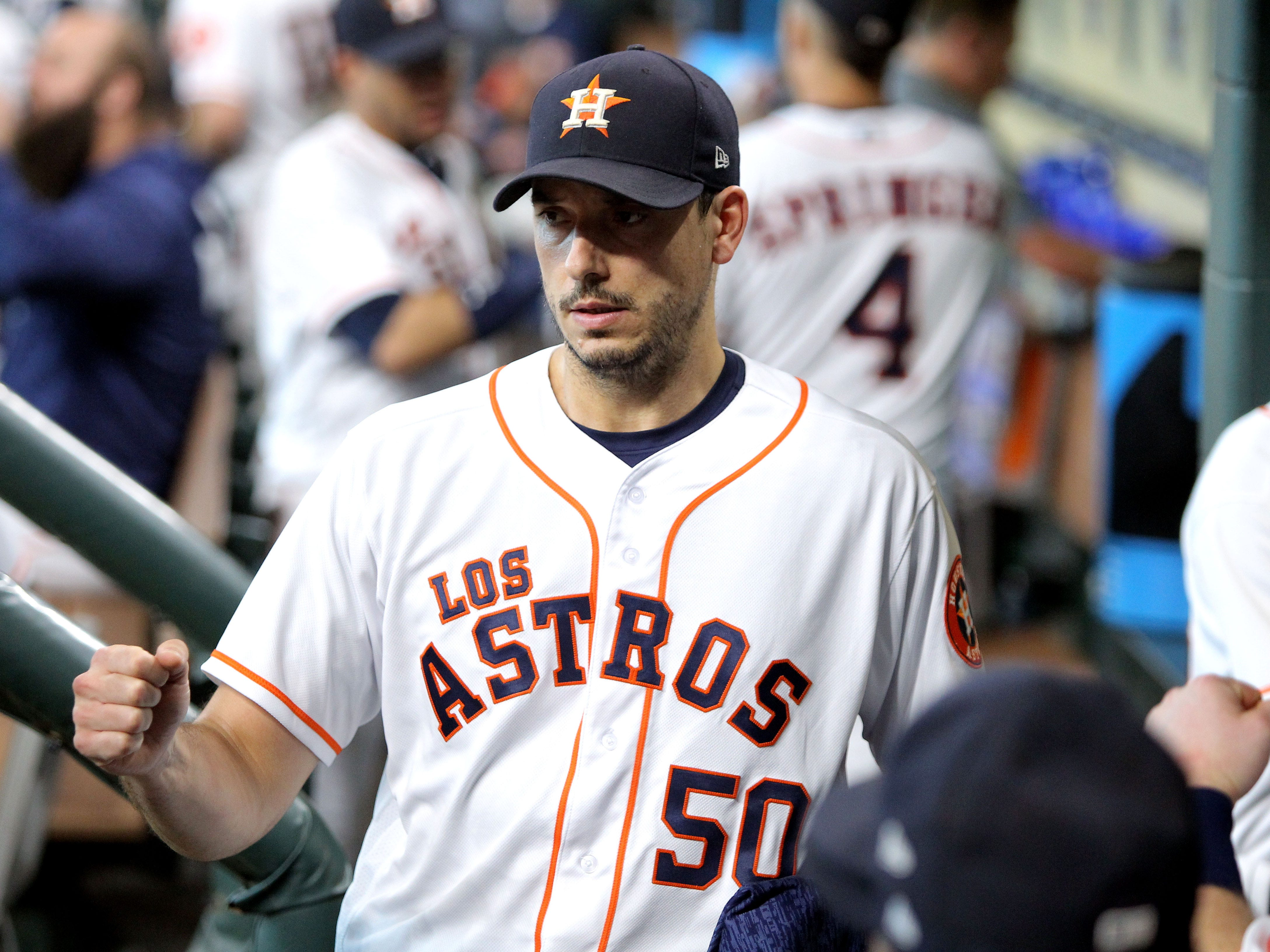 Sep 15, 2018; Houston, TX, USA; Houston Astros starting pitcher Charlie Morton (50) in the dugout prior to the game against the Arizona Diamondbacks at Minute Maid Park. Mandatory Credit: Erik Williams-USA TODAY Sports