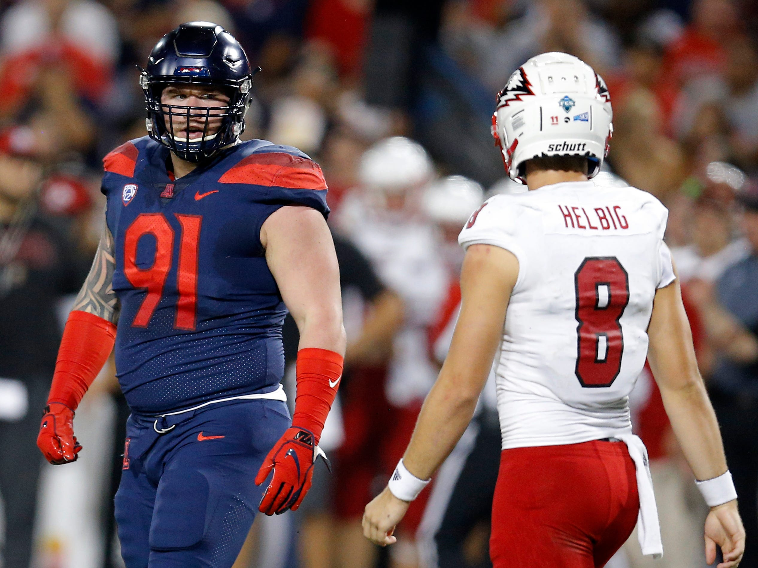 Arizona defensive tackle Finton Connolly (91) in the first half during an NCAA college football game against Southern Utah, Saturday, Sept. 15, 2018, in Tucson, Ariz. (AP Photo/Rick Scuteri)