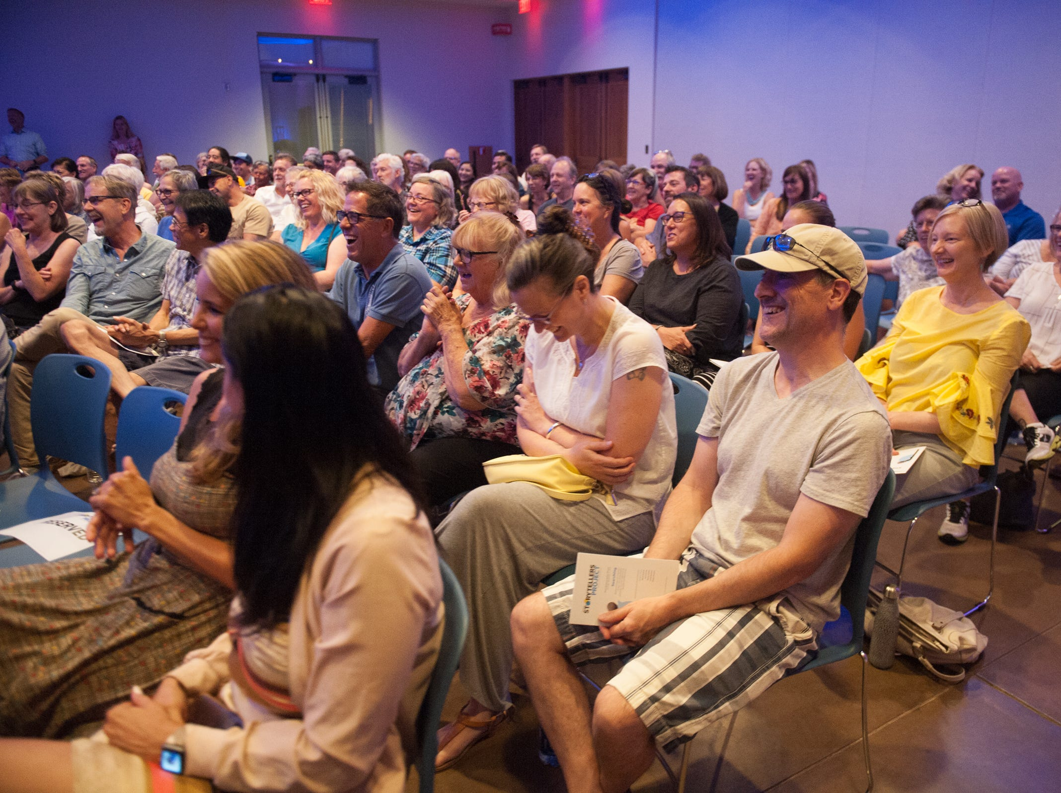 The room fills with laughter during Arizona Storytellers Project presents Searching at the Desert Botanical Garden in Phoenix on Thursday, Sep. 13, 2018.