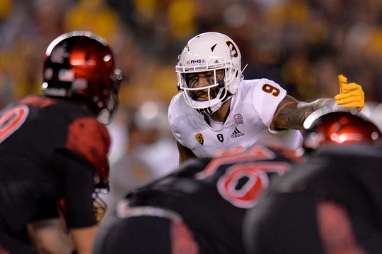 Sep 15, 2018; San Diego, CA, USA; Arizona State Sun Devils linebacker Jay Jay Wilson (9) gestures before the snap against the San Diego State Aztecs at SDCCU Stadium. Mandatory Credit: Jake Roth-USA TODAY Sports