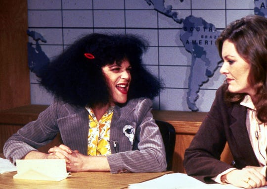 """Love, Gilda"" includes footage from ""Saturday Night Live"" featuring Roseanne Rosannadanna (Gilda Radner) and ""Weekend Update"" anchor Jane Curtin."