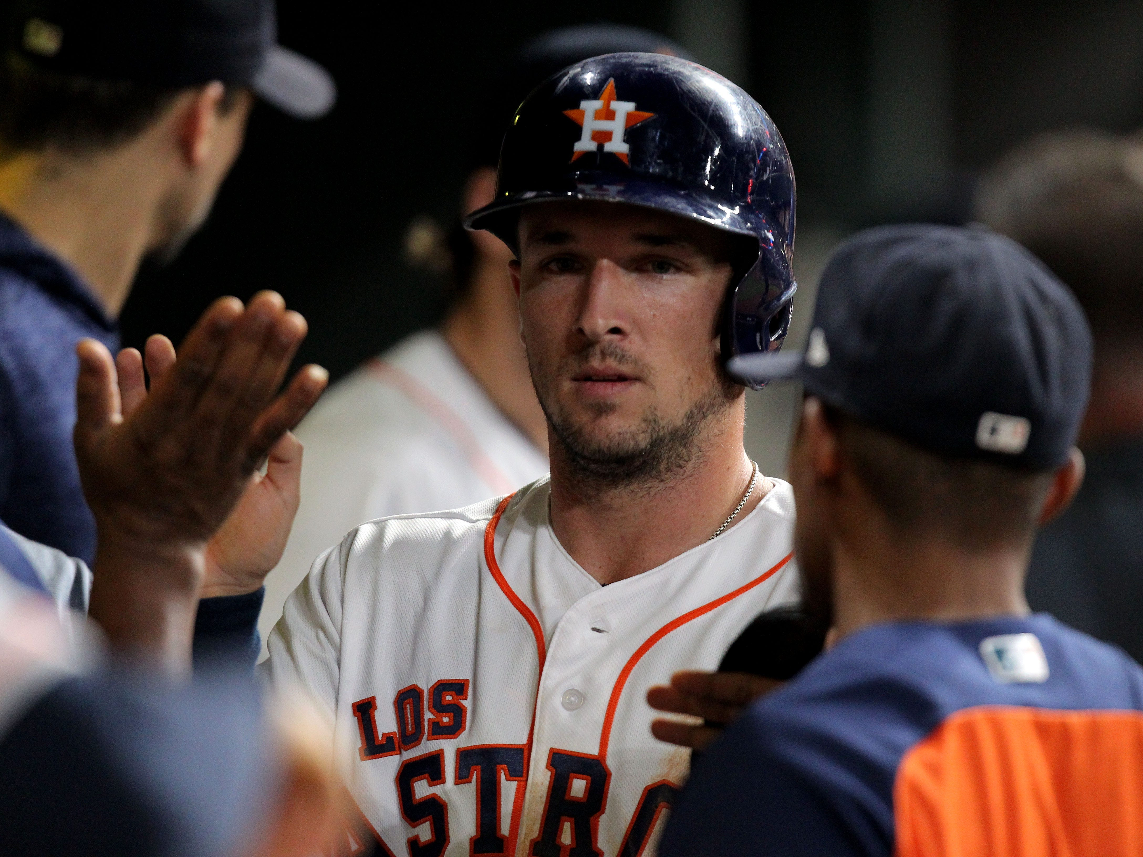 Sep 15, 2018; Houston, TX, USA; Houston Astros third baseman Alex Bregman (2) is greeted in the dugout after scoring a run against the Arizona Diamondbacks during the sixth inning at Minute Maid Park. Mandatory Credit: Erik Williams-USA TODAY Sports