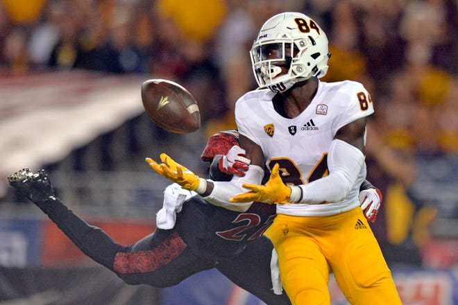 Sep 15, 2018; San Diego, CA, USA; Arizona State Sun Devils wide receiver Frank Darby (84) makes a catch against San Diego State Aztecs cornerback Kyree Woods (27) during the second quarter at SDCCU Stadium. Mandatory Credit: Jake Roth-USA TODAY Sports