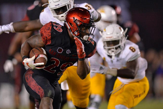 Sep 15, 2018; San Diego, CA, USA; San Diego State Aztecs running back Juwan Washington (29) runs the ball during the third quarter against the Arizona State Sun Devils at SDCCU Stadium. Mandatory Credit: Jake Roth-USA TODAY Sports