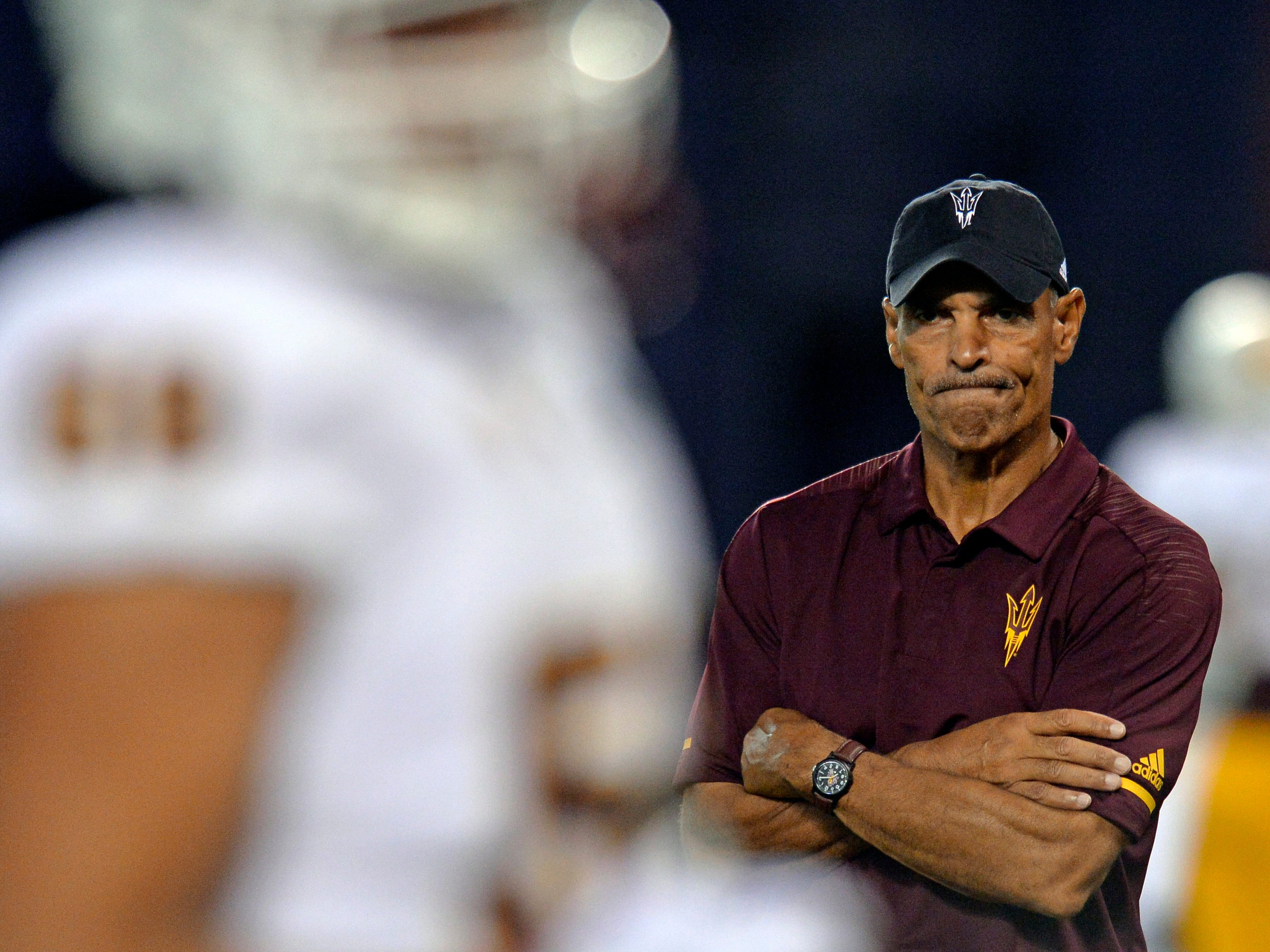 Sep 15, 2018; San Diego, CA, USA; Arizona State Sun Devils head coach Herm Edwards looks on before a game against the San Diego State Aztecs at SDCCU Stadium. Mandatory Credit: Jake Roth-USA TODAY Sports
