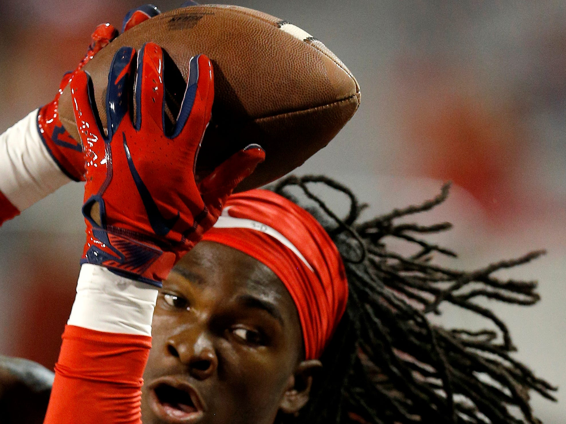 Arizona safety Jarrius Wallace (3) warms up before an NCAA college football game against Southern Utah, Saturday, Sept. 15, 2018, in Tucson, Ariz. (AP Photo/Rick Scuteri)