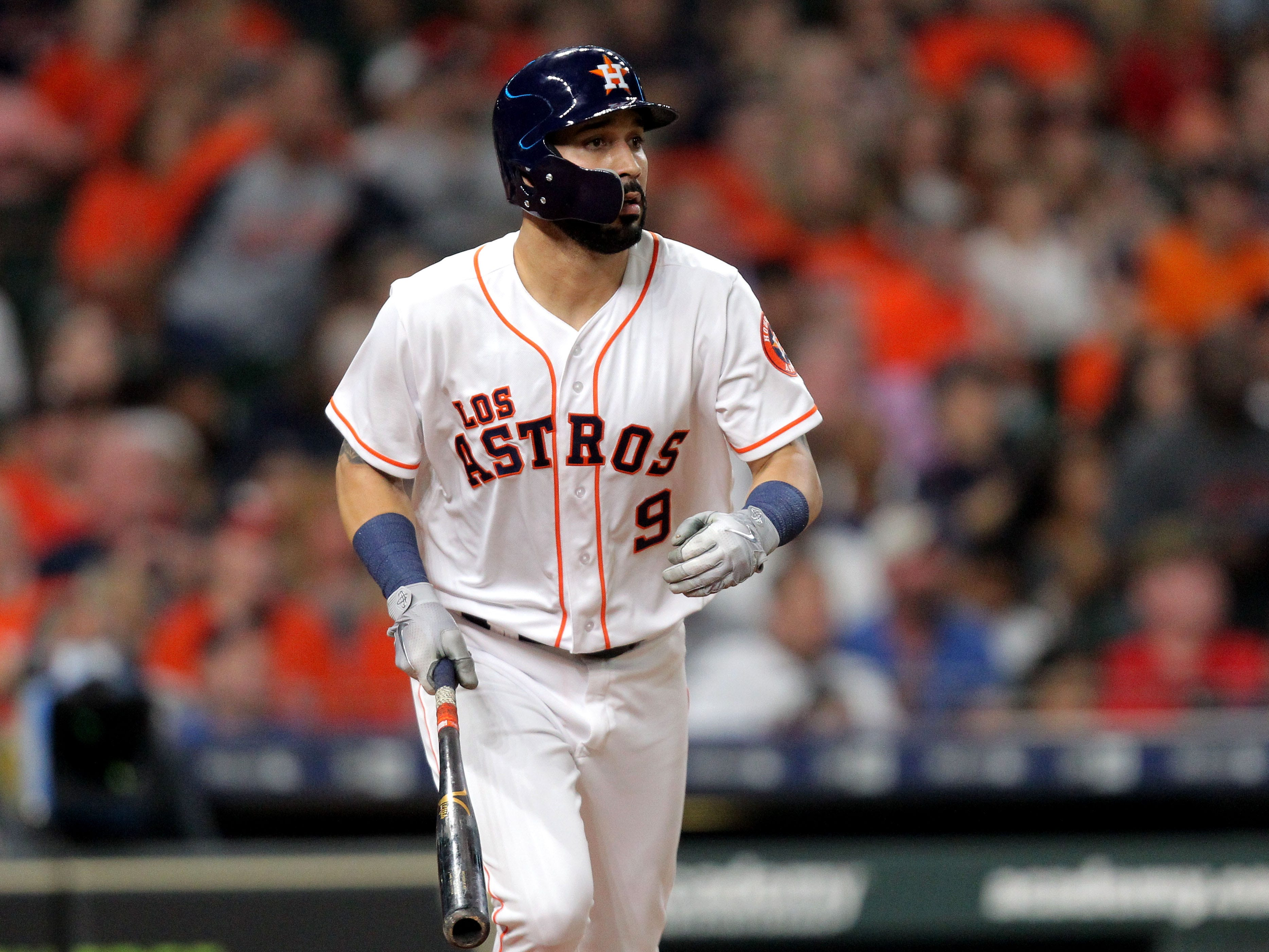 Sep 15, 2018; Houston, TX, USA; Houston Astros left fielder Marwin Gonzalez (9) hits an RBI double to right field against the Arizona Diamondbacks during the fourth inning at Minute Maid Park. Mandatory Credit: Erik Williams-USA TODAY Sports