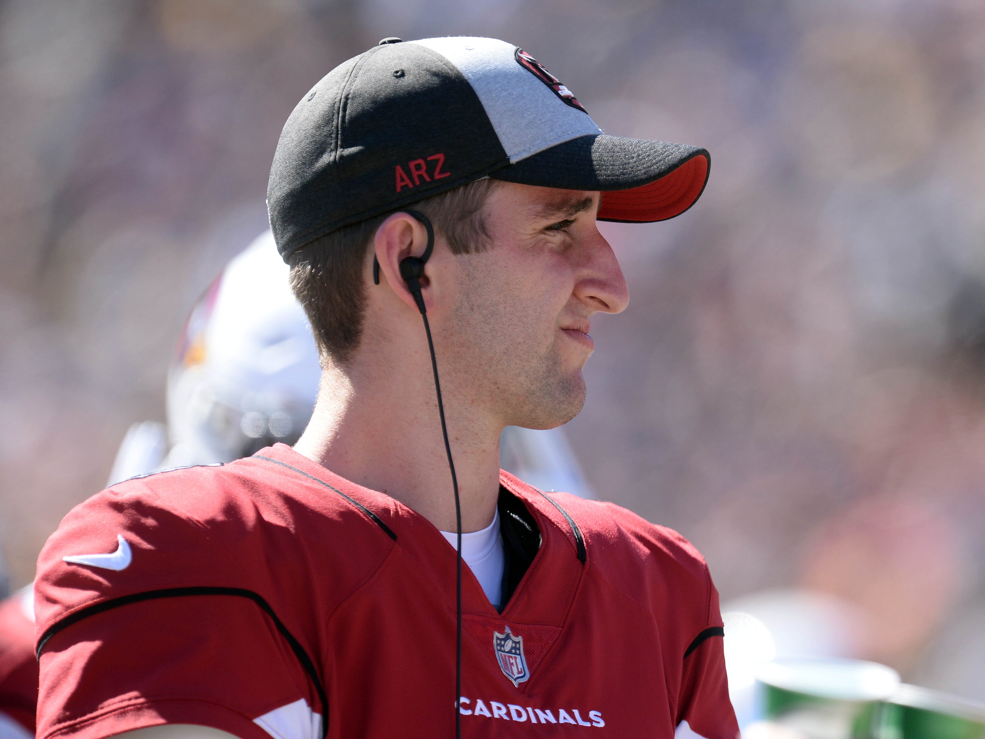 September 16, 2018; Los Angeles, CA, USA; Arizona Cardinals quarterback Josh Rosen (3) during the second half as the Cardinals play against the Los Angeles Rams at the Los Angeles Memorial Coliseum. Mandatory Credit: Gary A. Vasquez-USA TODAY Sports