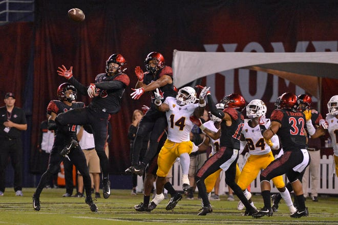 Sep 15, 2018: San Diego State Aztecs safety Parker Baldwin (33) bats the ball down on the last play of the game against the Arizona State Sun Devils at SDCCU Stadium.