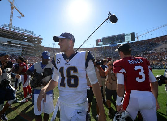 September 16, 2018; Los Angeles, CA, USA; Los Angeles Rams quarterback Jared Goff (16) following the 34-0 victory against the Arizona Cardinals at the Los Angeles Memorial Coliseum. Mandatory Credit: Gary A. Vasquez-USA TODAY Sports