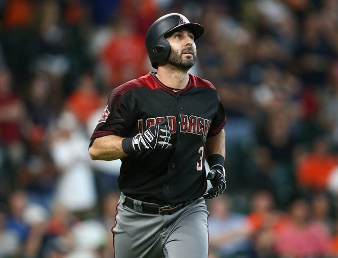 Sep 16, 2018; Houston, TX, USA; Arizona Diamondbacks designated hitter Daniel Descalso (3) hits a home run during the ninth inning against the Houston Astros at Minute Maid Park. Mandatory Credit: Troy Taormina-USA TODAY Sports