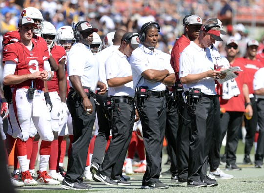Cardinals coach Steve Wilks looks on from the sideline during Arizona's 34-0 loss to the Rams on Sunday at Los Angeles Memorial Coliseum.