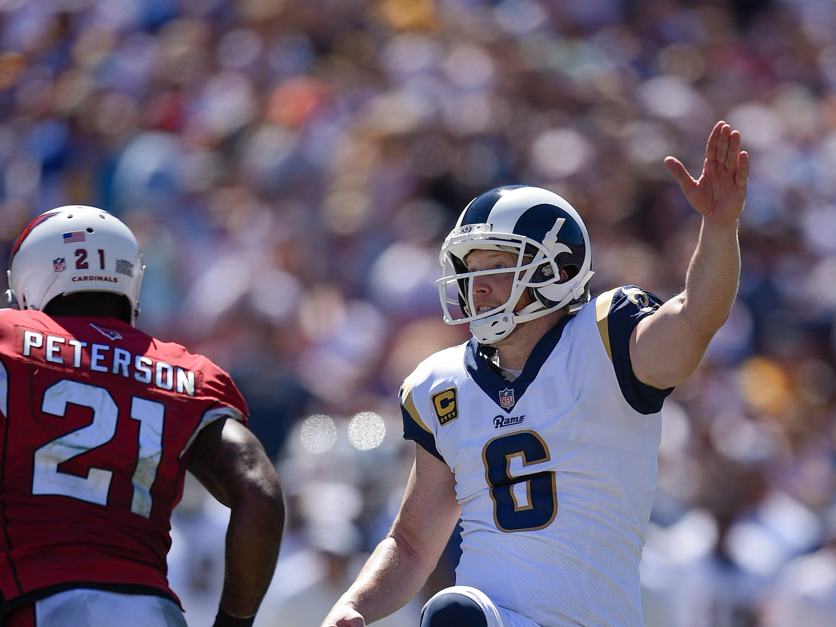 Sep 16, 2018; Los Angeles, CA, USA; Los Angeles Rams punter Johnny Hekker (6) looks up after kicking a field goal during the first half against the Arizona Cardinals at Los Angeles Memorial Coliseum. Mandatory Credit: Kelvin Kuo-USA TODAY Sports