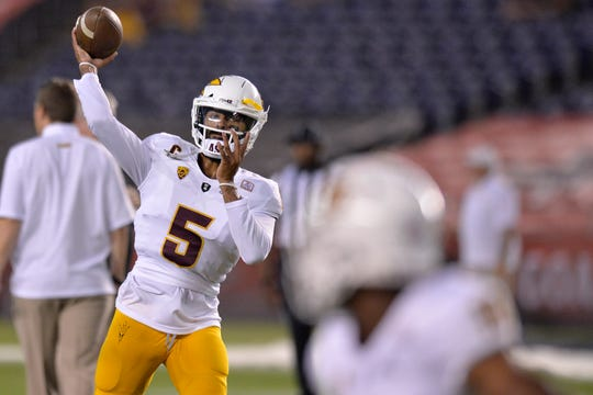 Sep 15, 2018; San Diego, CA, USA; Arizona State Sun Devils quarterback Manny Wilkins (5) warms up before a game against the San Diego State Aztecs at SDCCU Stadium. Mandatory Credit: Jake Roth-USA TODAY Sports