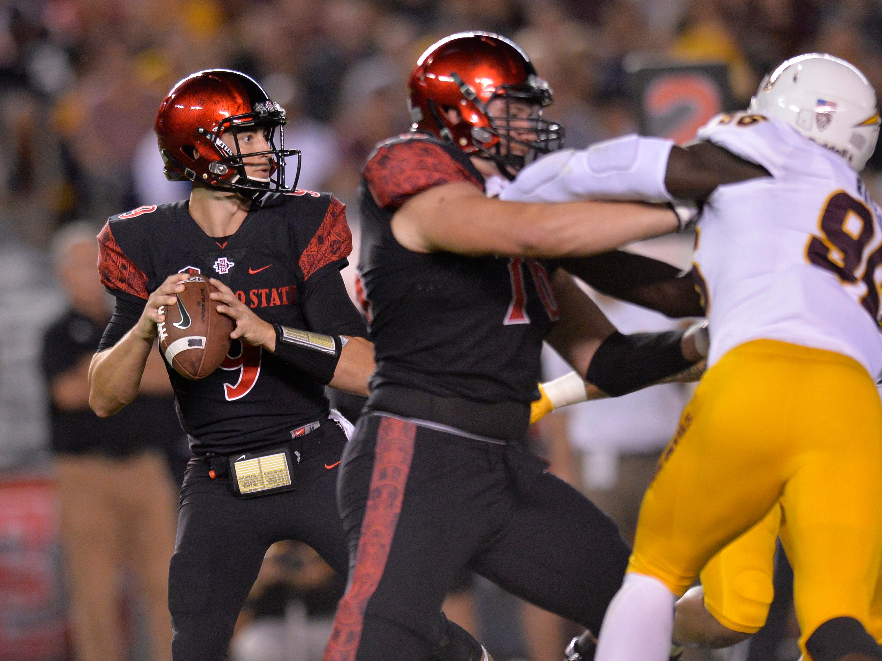 Sep 15, 2018; San Diego, CA, USA; San Diego State Aztecs quarterback Ryan Agnew (9) looks to pass during the first quarter against the Arizona State Sun Devils at SDCCU Stadium. Mandatory Credit: Jake Roth-USA TODAY Sports