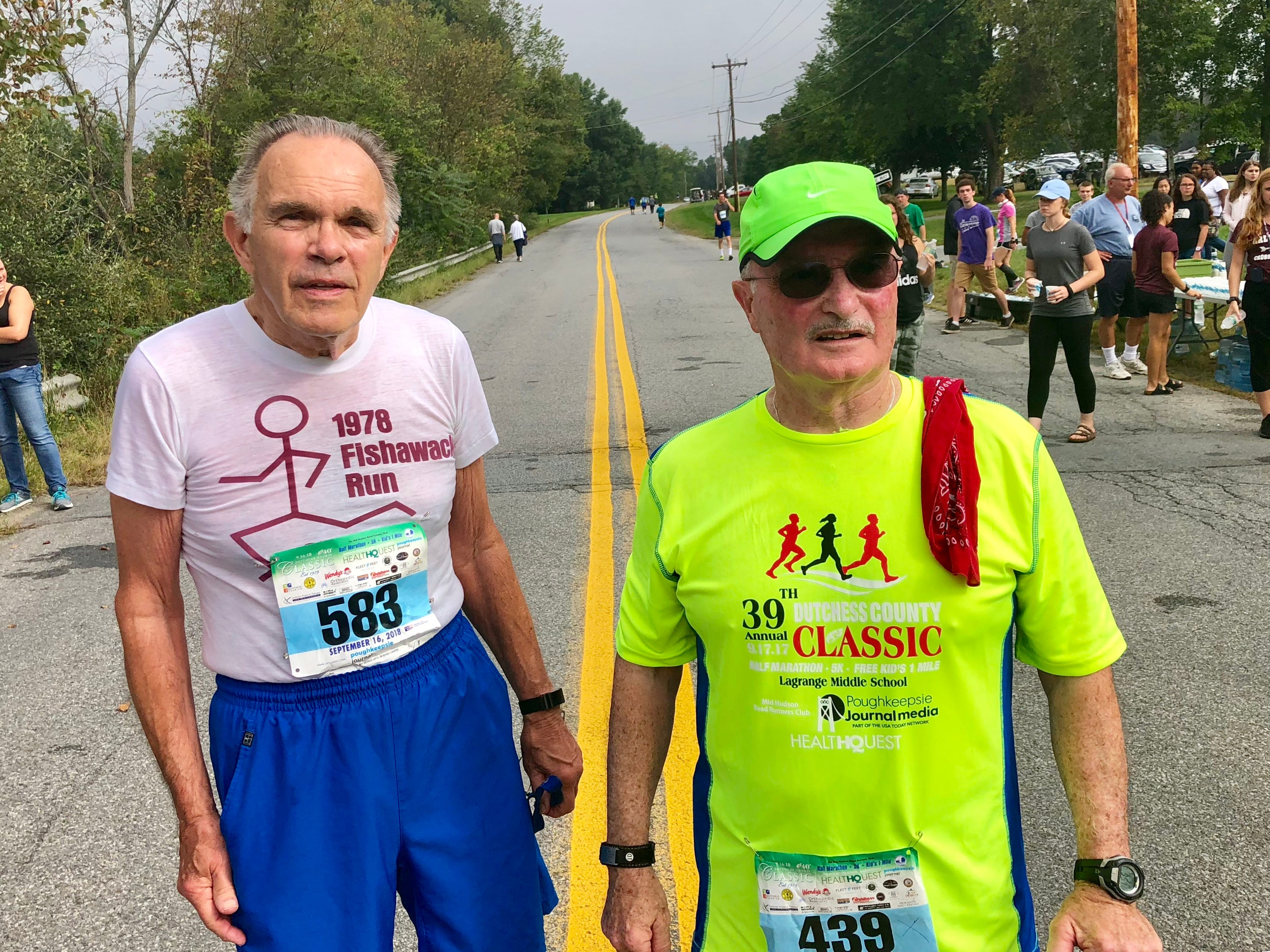 Cancer survivor Fred Maynard, of Poughkeepsie, poses with his friend Fred Policastri of Langrangeveill after the two ran the 5k at the Dutchess County Classic on Sunday.