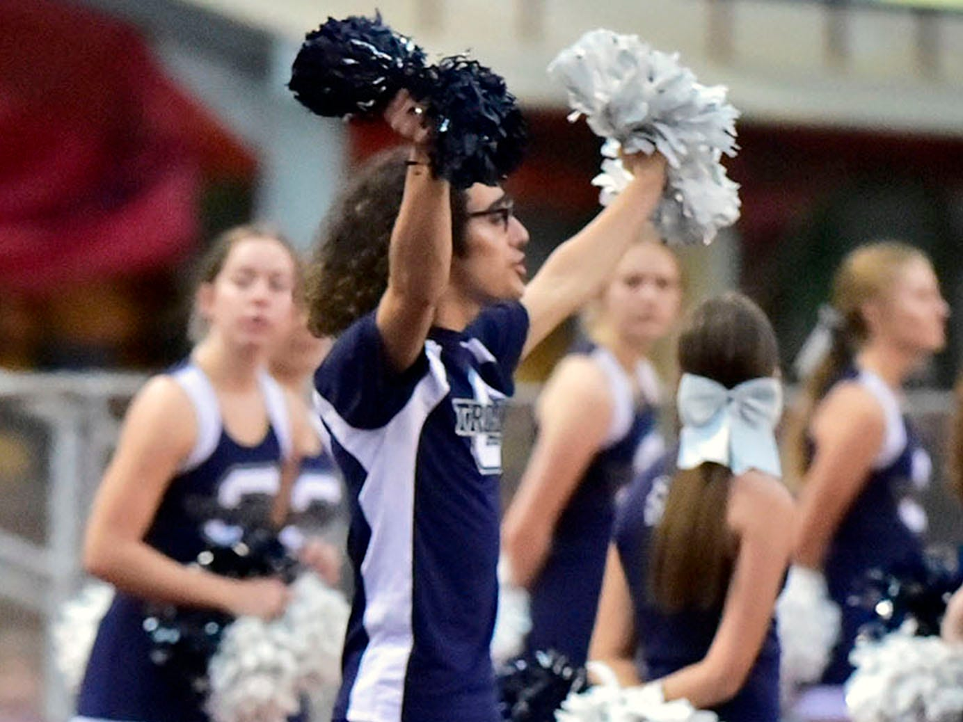 Trojan cheeleaders root for their undefeated team. Chambersburg defeated Altoona in PIAA football to move to 4-0 on Friday, Sept. 14, 2018.
