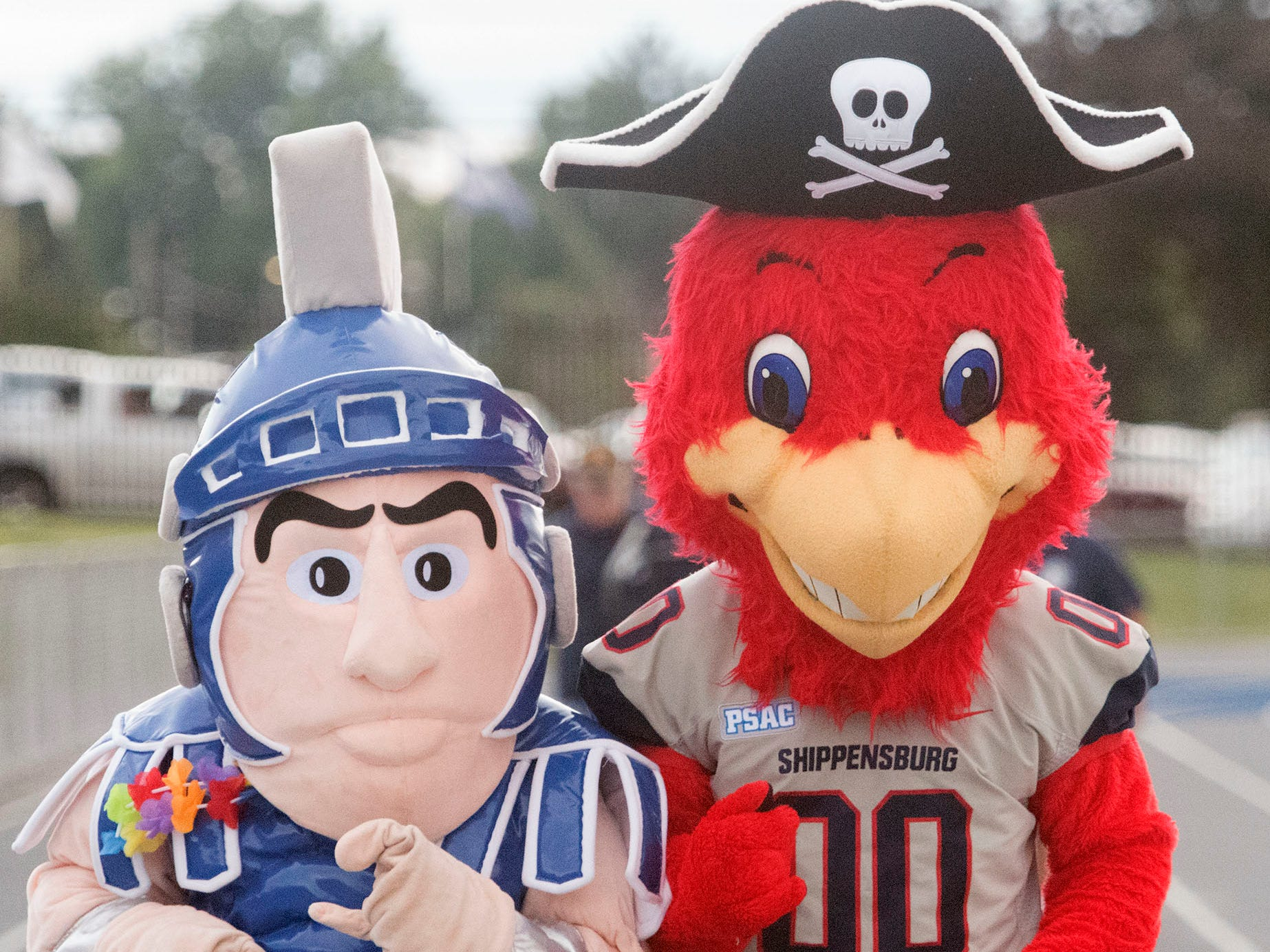 Mascots from Chambersburg and Shippensburg University are at Trojan Stadium. Chambersburg routed South Western 51-26 in football on Friday, Aug. 31, 2018.