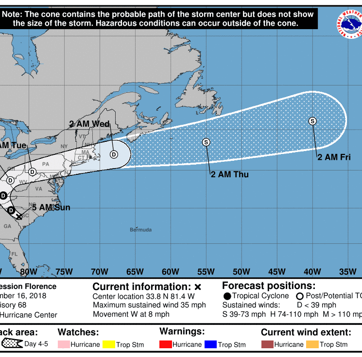 Tropical Depression Florence expected to hit York on Monday