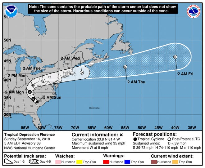 Tropical Depression Florence's current projected path, as of Sunday morning.