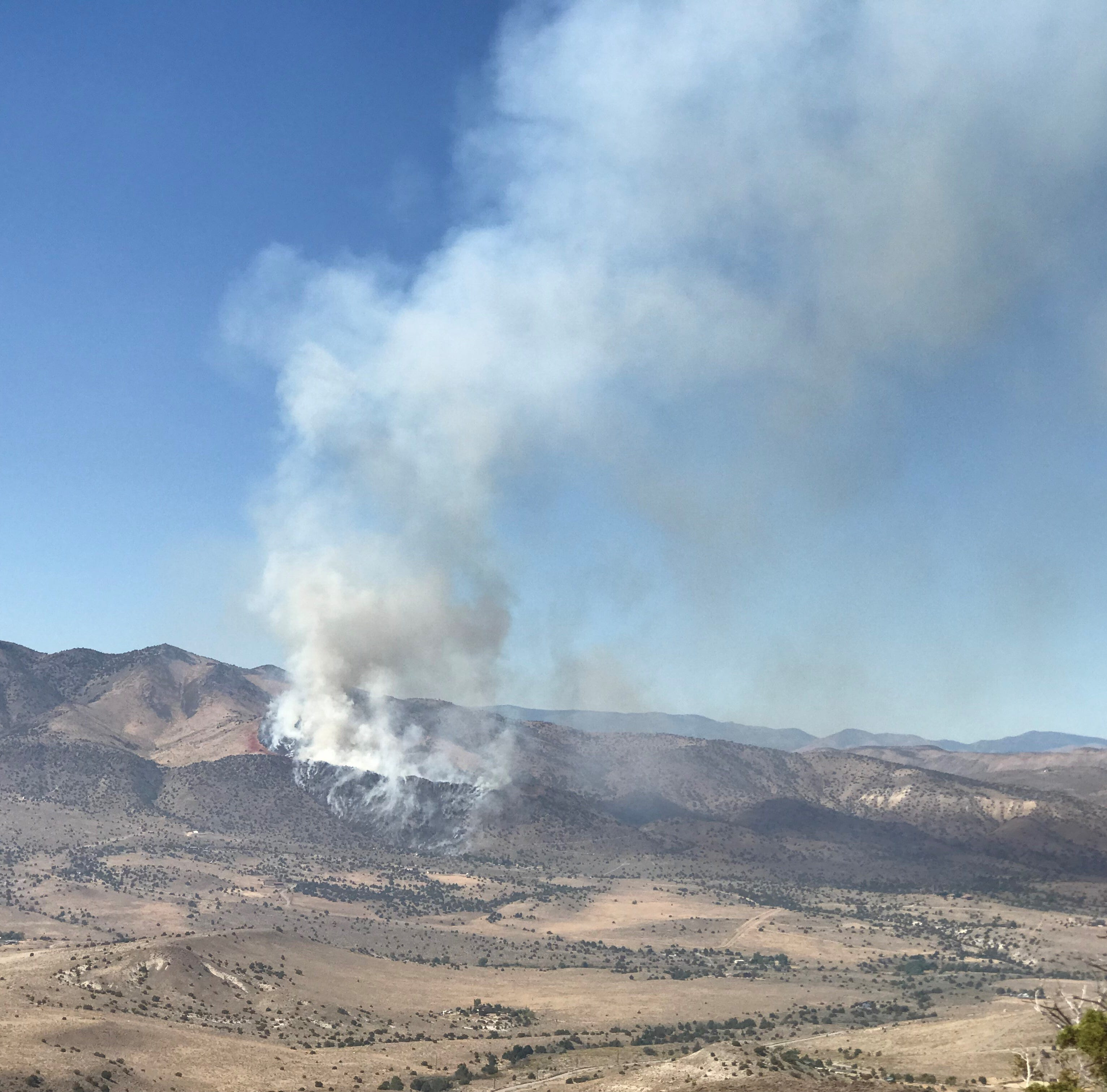 Pioche Fire near Palomino Valley burns 80 acres, fire crews surround home in Palomino Valley where fire burns in backyard