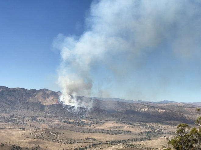 A view of the Pioche FIre burning in Palomino Valley