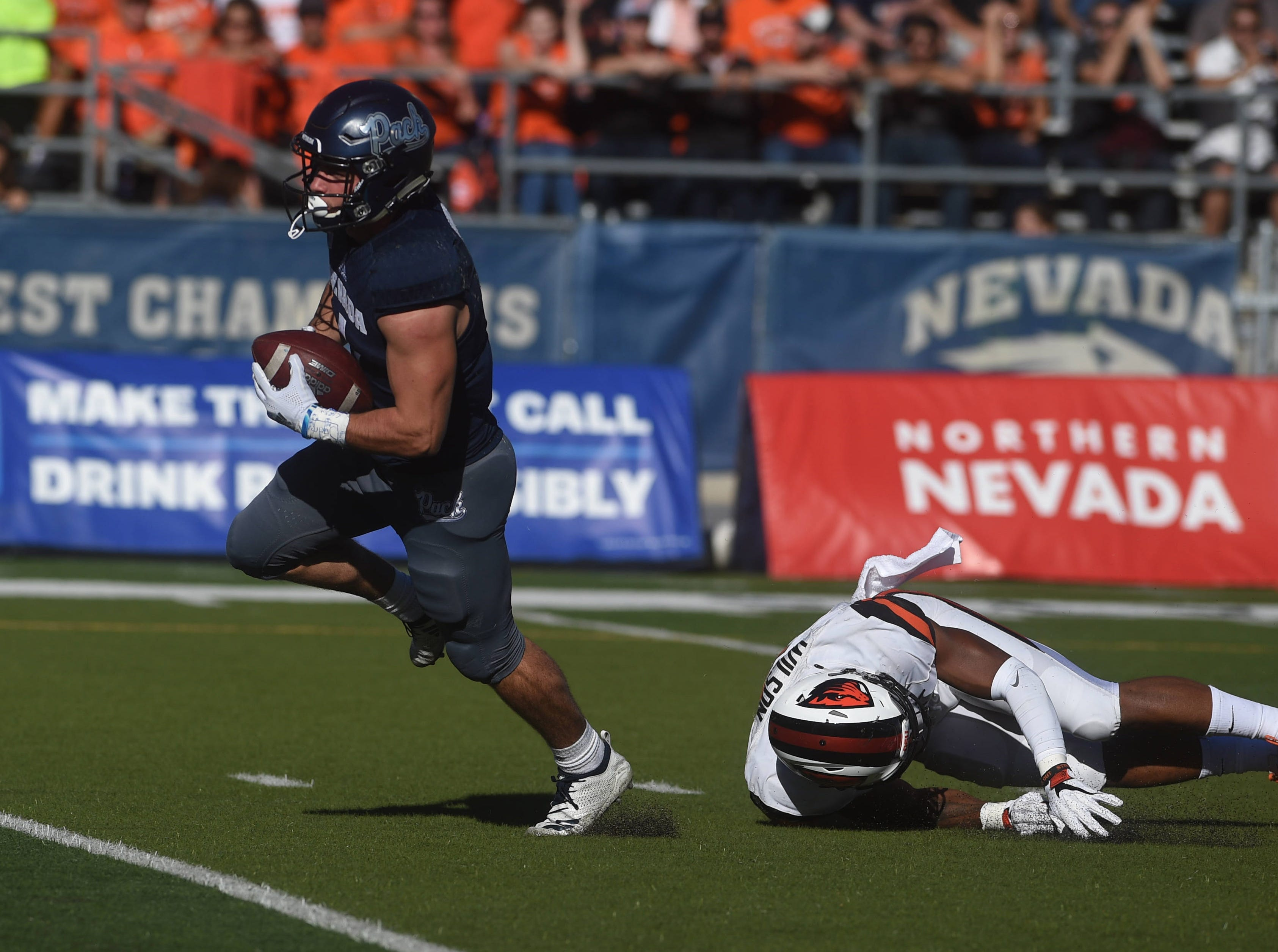 Nevada takes on Oregon State during their football game at Mackay Stadium in Reno on Sept. 15, 2018.