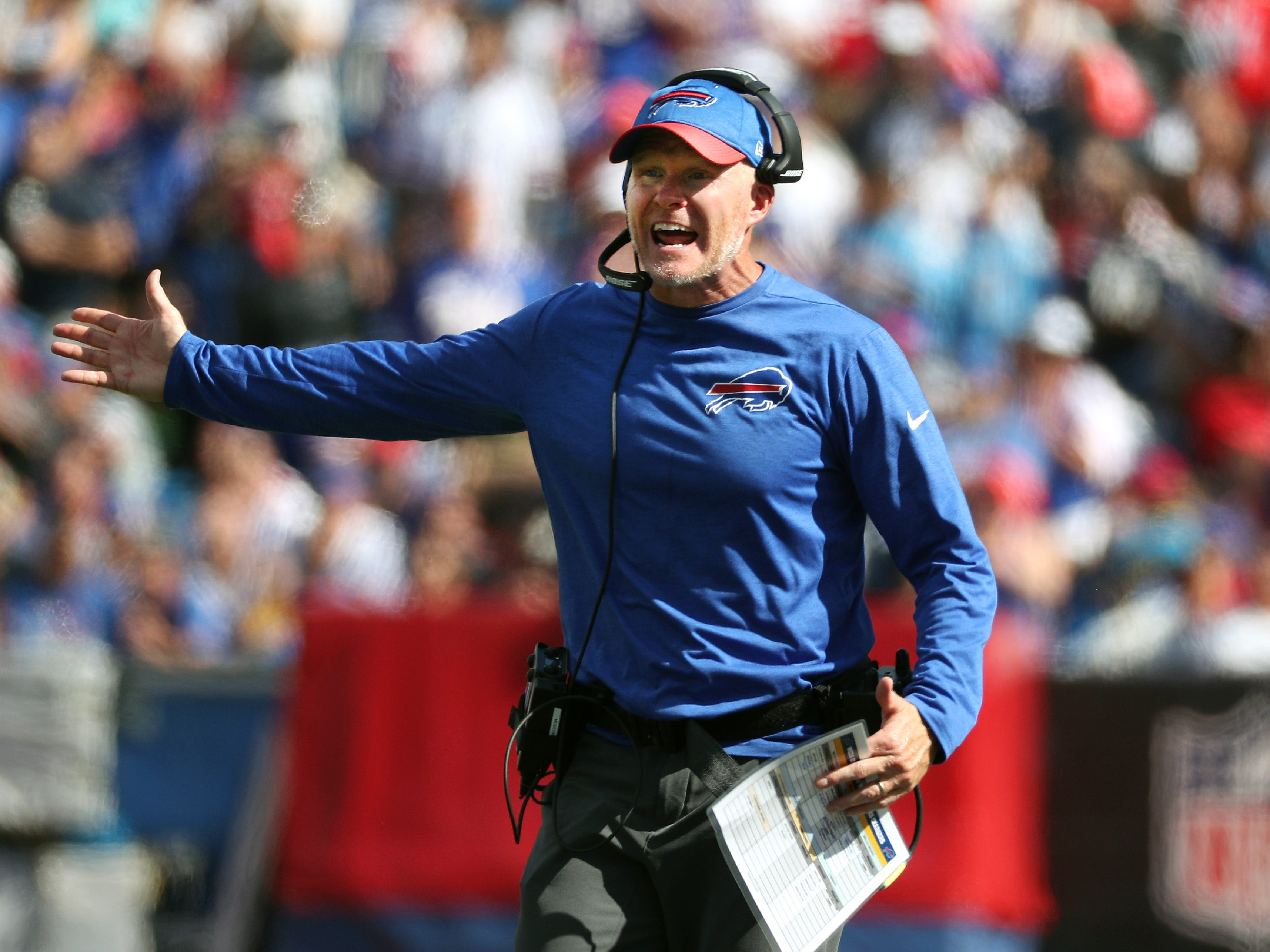 Bills head coach Sean McDermott looks for an explanation  from officials on a call.