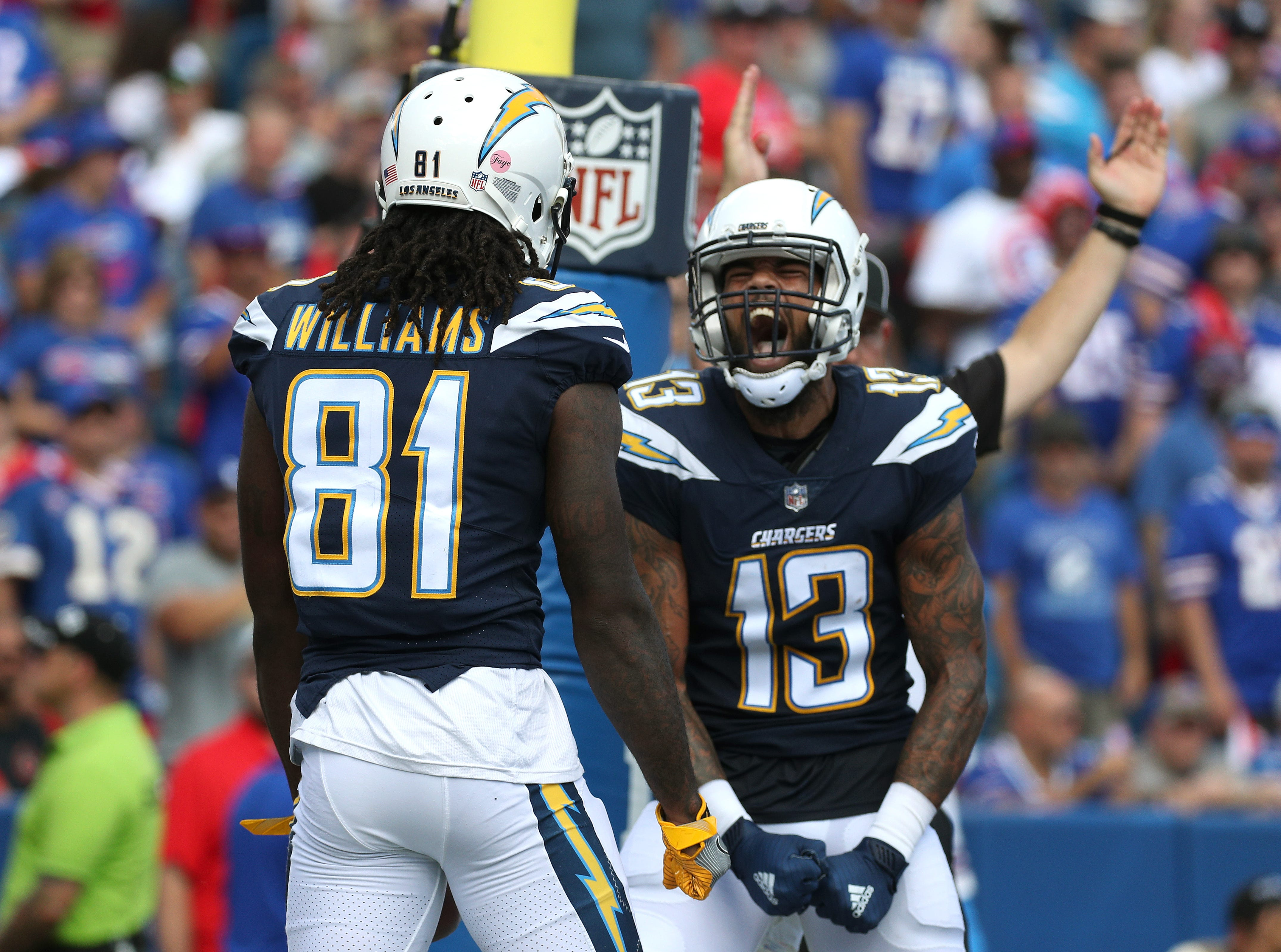 Chargers Keenan Allen celebrates Marcus Williams 10 yard touchdown reception.