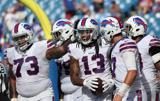 Bills Kelvin Benjamin (13) celebrates his 3 yard touchdown catch.
