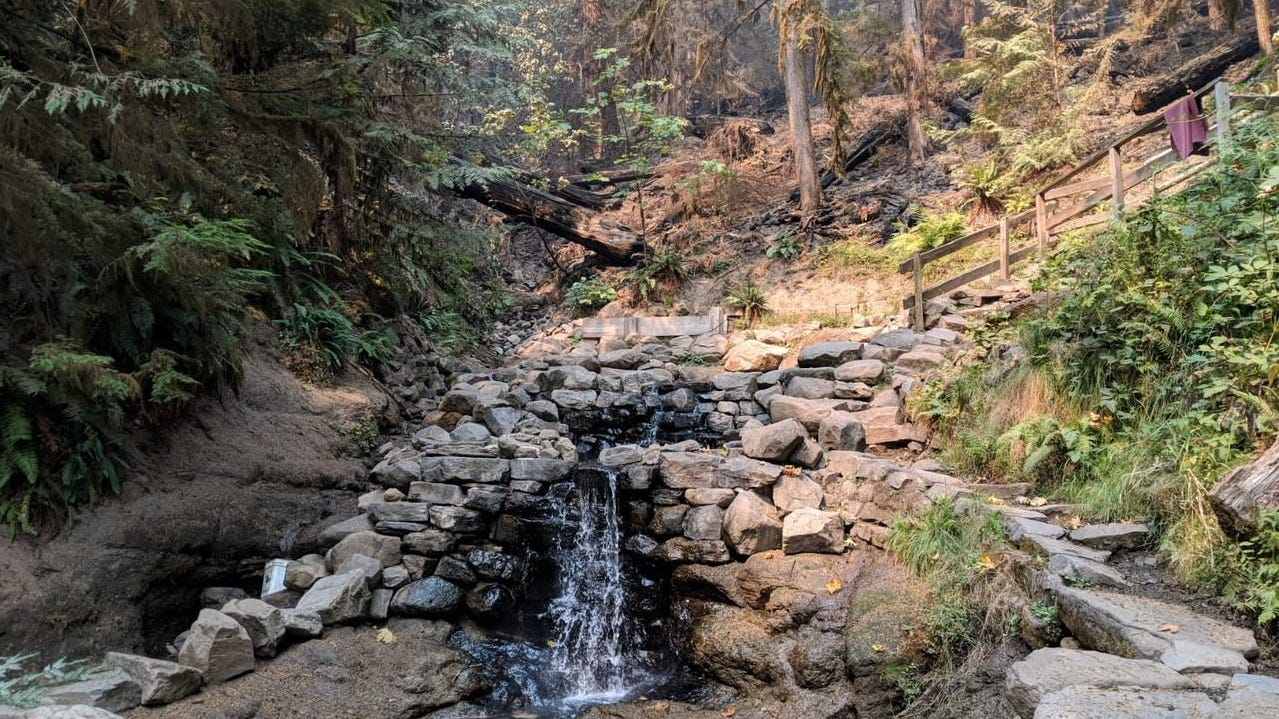 First views of Terwillliger Hot Springs, which was burned over by the Terwillliger Fire earlier this year.