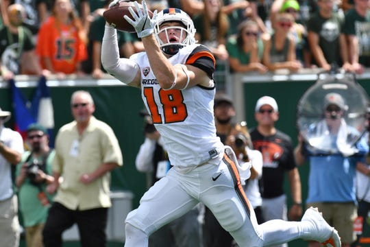 Oregon State wide receiver Timmy Hernandez, pictured here in a game against Colorado State last season, had a career-high 11 receptions for 116 yards in a 37-35 loss at Nevada on Sept. 15, 2018.