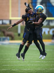 Angelo State Rams celebrate during the game against Texas A&M-Kingsville Saturday, Sept. 15, 2018, at LeGrand Stadium at 1st Community Credit Union Field.