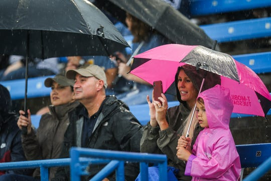 Angelo State fans brave the weather to watch their team play against Texas A&M-Kingsville Saturday, Sept. 15, 2018, at LeGrand Stadium at 1st Community Credit Union Field.